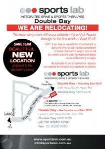 Sports Lab Double Bay Relocation Announcement