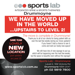 Sports Lab Drummoyne has moved upstairs to Level 2