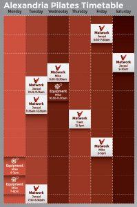 Alexandria Pilates Timetable